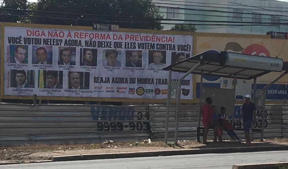 Fórum Sindical do Mato Grosso faz mobilização contra a PEC 287 e pressiona deputados