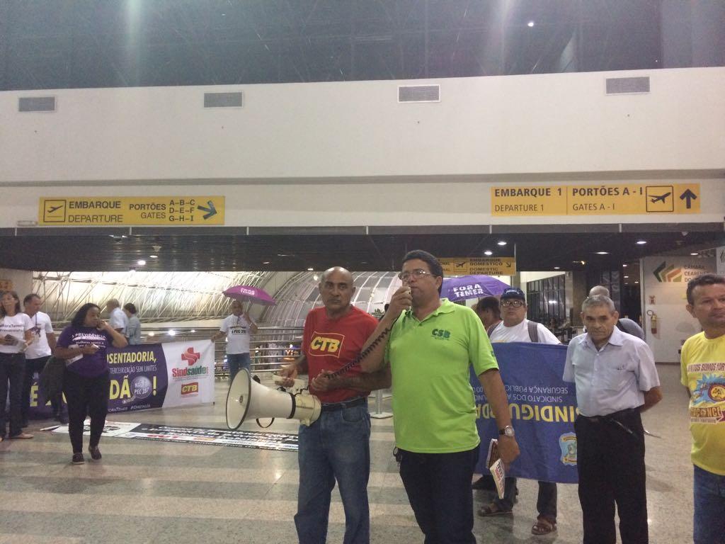 CSB-CE se mobiliza contra a reforma da Previdência em ato no aeroporto de Fortaleza