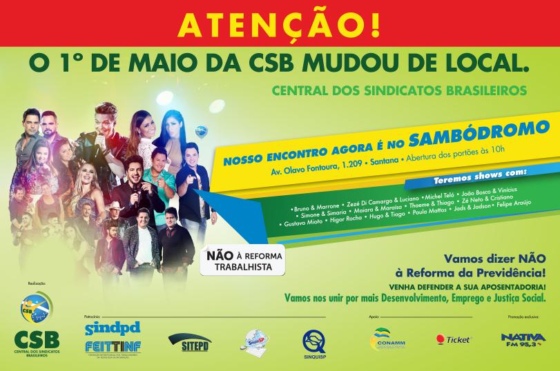 Para celebrar o trabalhador e defender direitos, CSB realiza 1º de Maio em São Paulo