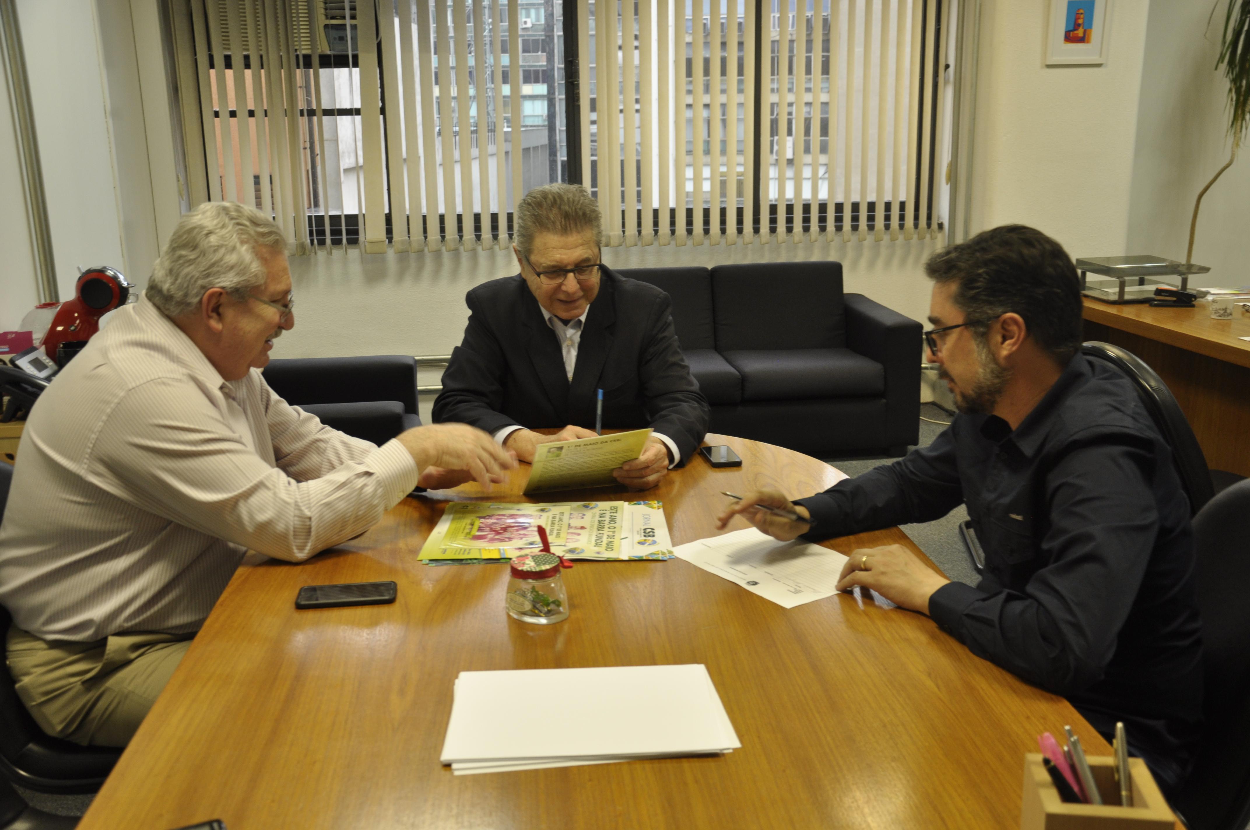 Em reunião, CSB convida secretário municipal do trabalho de SP para festa de 1º de Maio