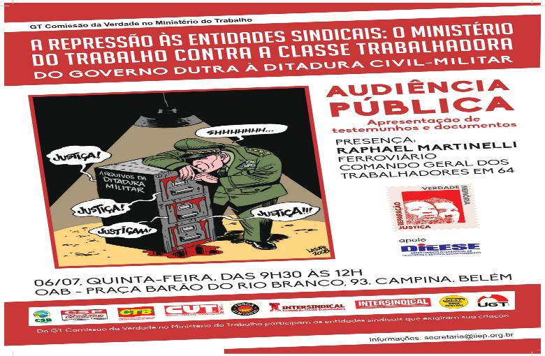No Pará, audiência pública debate repressão às entidades sindicais durante a ditadura militar