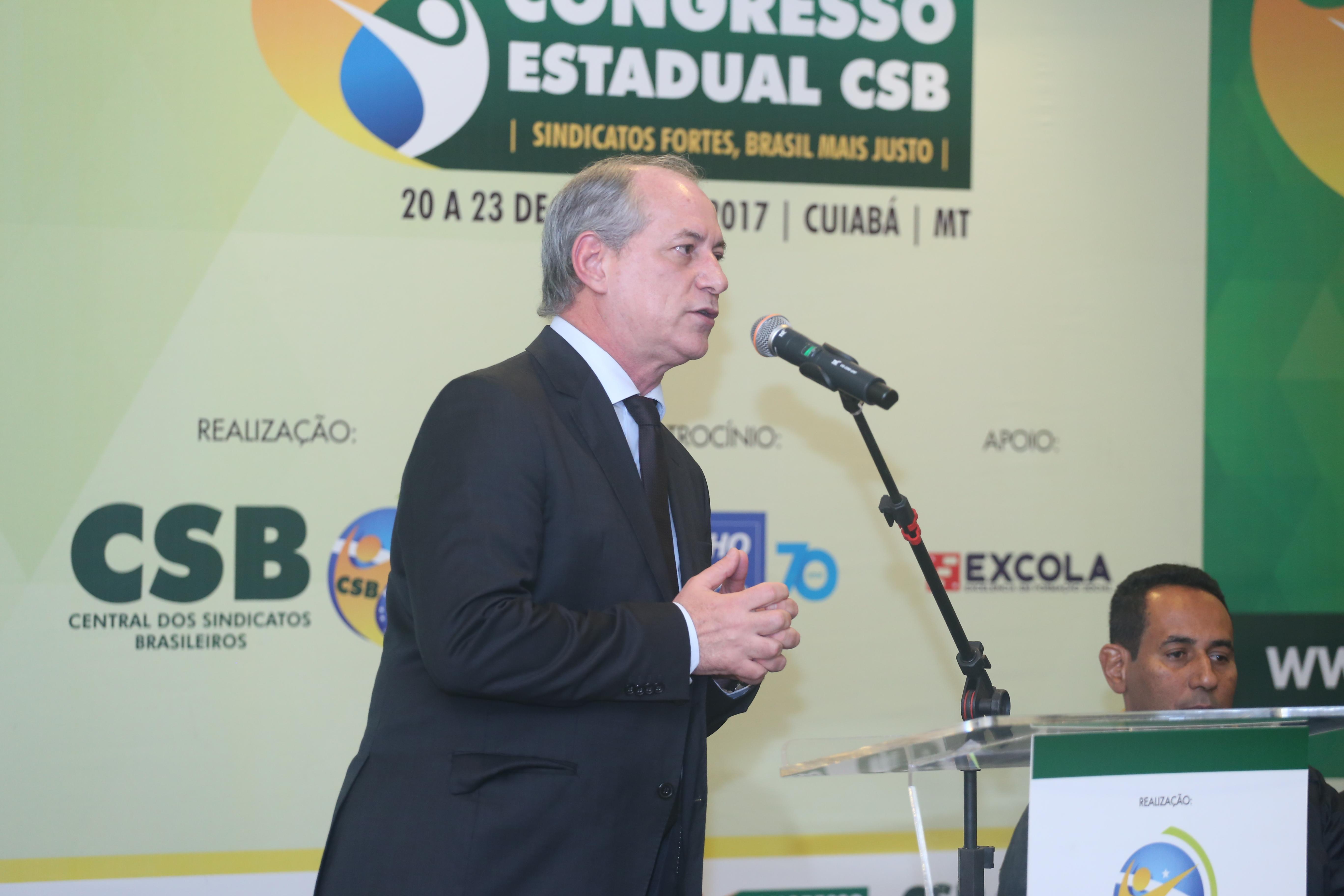 Palestra de Ciro Gomes – Congresso Estadual CSB Mato Grosso – 20 de junho   2017