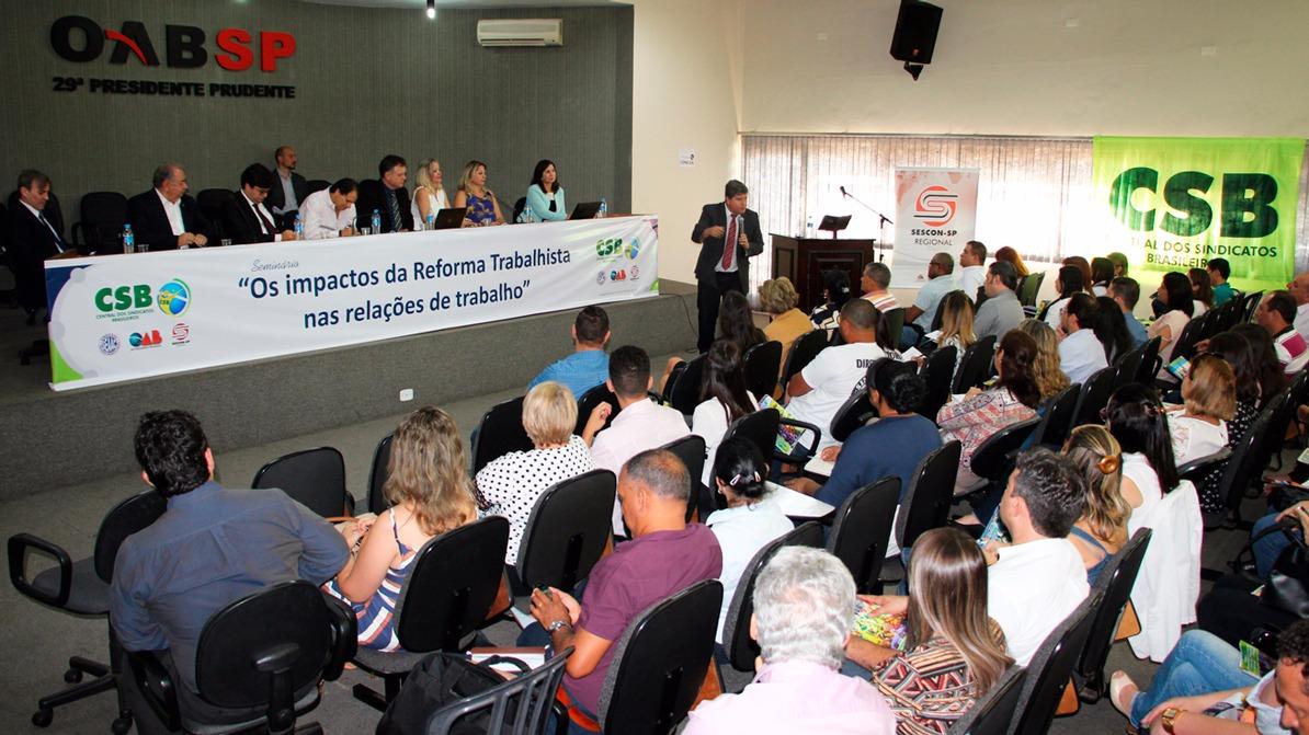 Com público recorde, CSB e SEAAC debatem reforma trabalhista em Presidente Prudente (SP)