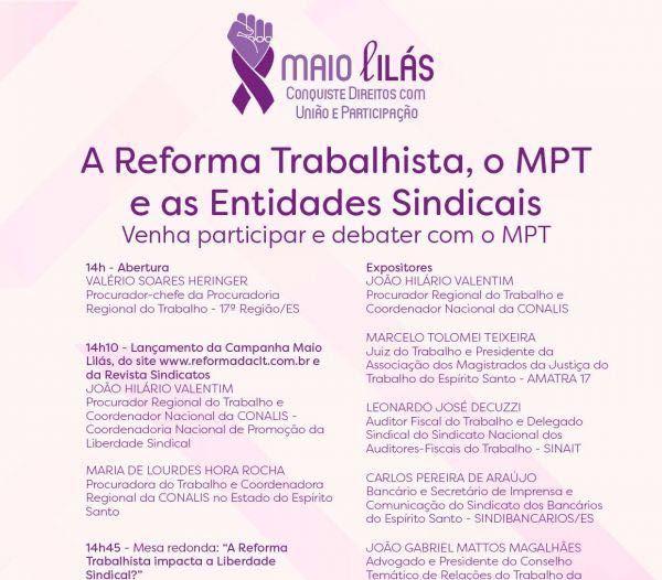 Liberdade Sindical após reforma trabalhista é tema de evento do MPT no Espírito Santo