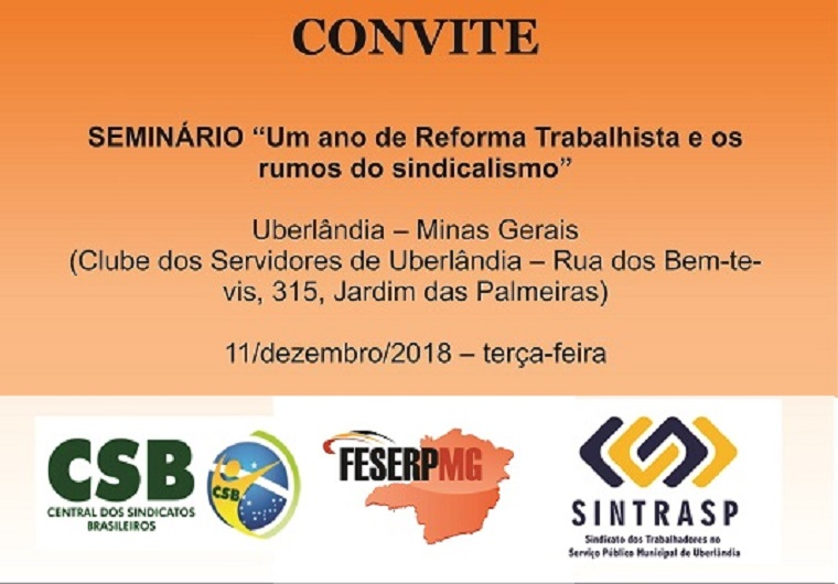 FESERP-MG e CSB promovem Seminário sobre a Reforma Trabalhista e os rumos do sindicalismo