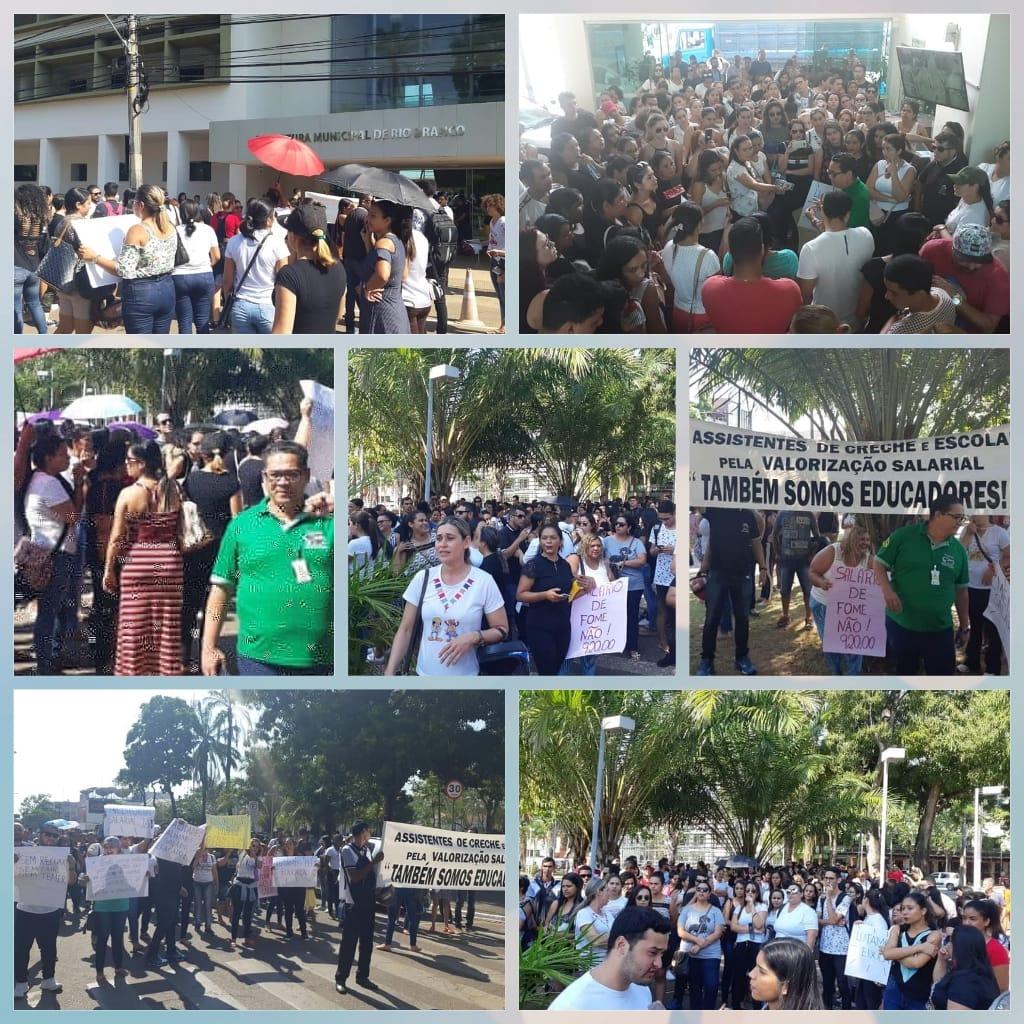 Funcionários públicos de Rio Branco realizam passeata e reivindicam melhores salários e condições de trabalho