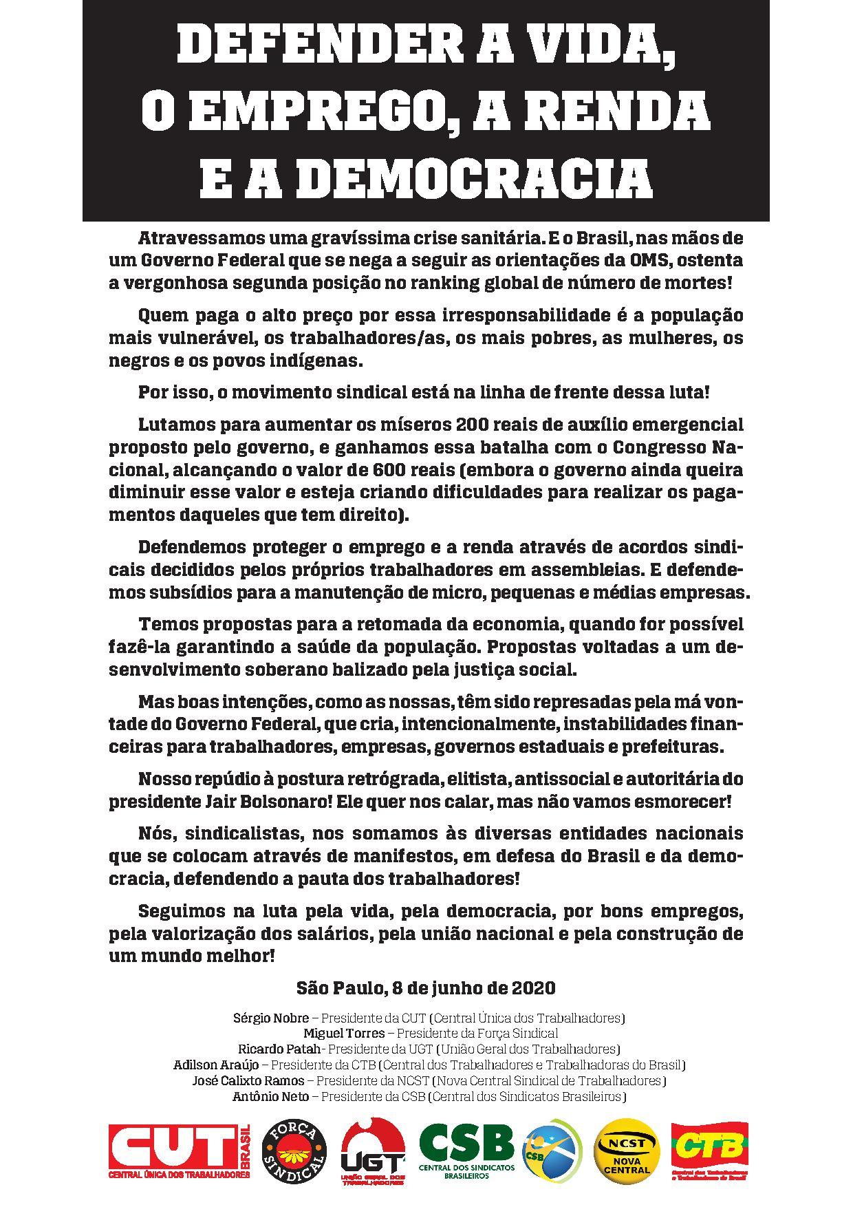 Centrais divulgam manifesto no Jornal Agora!