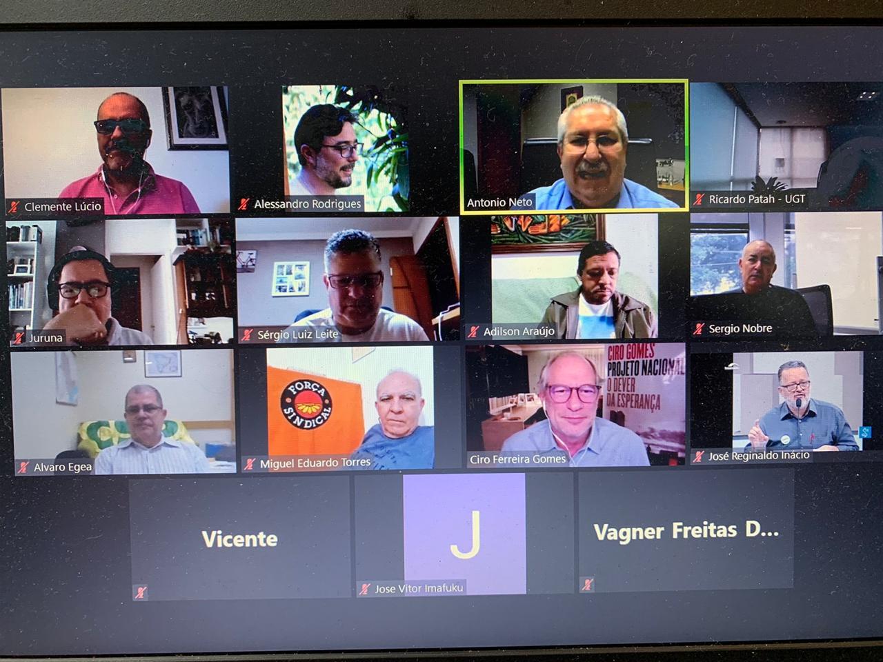 Ciro Gomes participa de live com as Centrais Sindicais