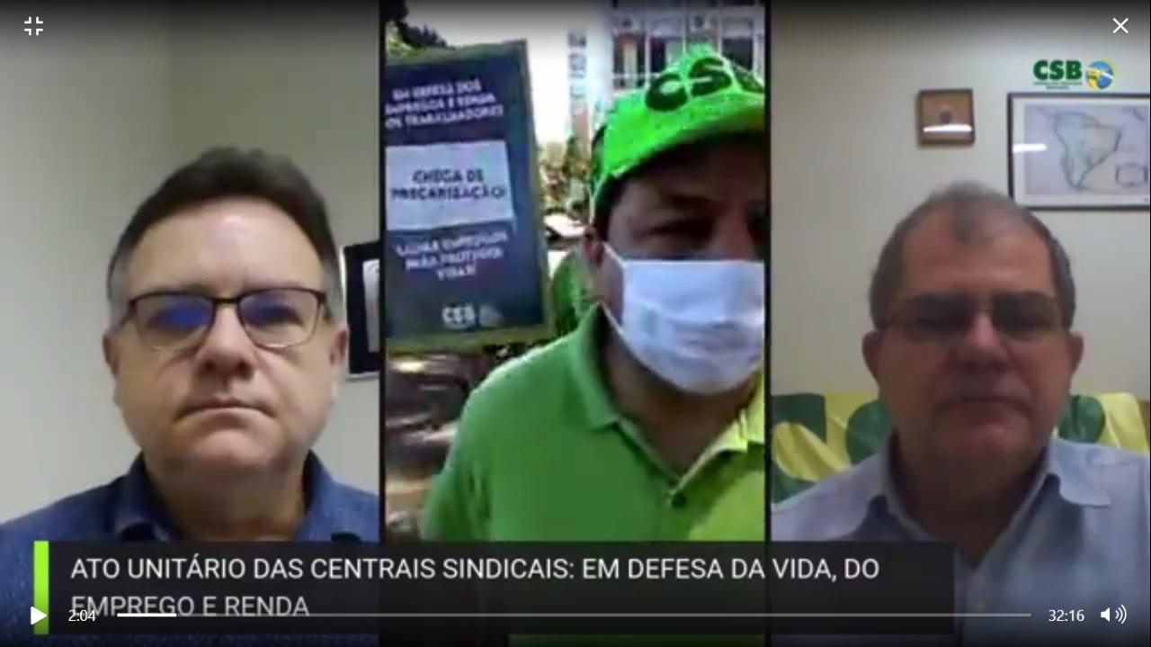 Ato das Centrais Sindicais, em Brasilia, em defesa da vida, emprego e renda