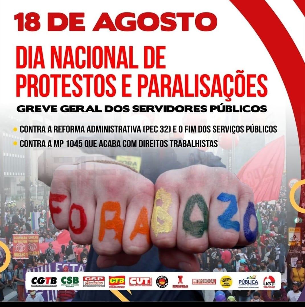 Servidores farão paralisação nacional contra reforma administrativa no dia 18 de agosto